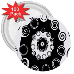 Fluctuation Hole Black White Circle 3  Buttons (100 Pack)