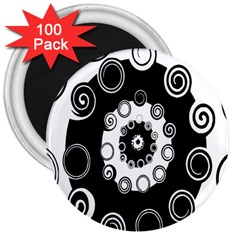Fluctuation Hole Black White Circle 3  Magnets (100 Pack)