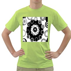 Fluctuation Hole Black White Circle Green T Shirt