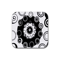 Fluctuation Hole Black White Circle Rubber Square Coaster (4 Pack)