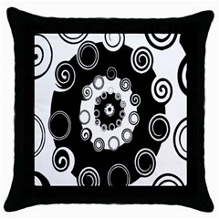 Fluctuation Hole Black White Circle Throw Pillow Case (black) by Alisyart
