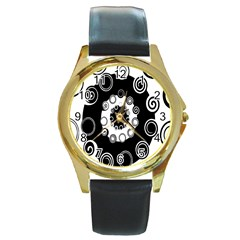 Fluctuation Hole Black White Circle Round Gold Metal Watch