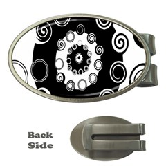 Fluctuation Hole Black White Circle Money Clips (oval)