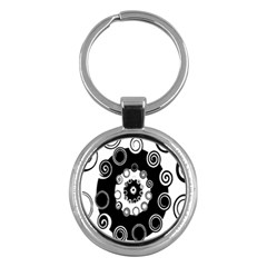 Fluctuation Hole Black White Circle Key Chains (round)