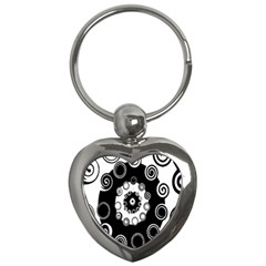 Fluctuation Hole Black White Circle Key Chains (heart)