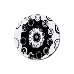 Fluctuation Hole Black White Circle Rubber Round Coaster (4 Pack)
