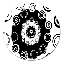 Fluctuation Hole Black White Circle Magnet 5  (round)