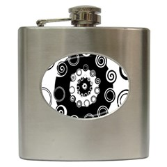 Fluctuation Hole Black White Circle Hip Flask (6 Oz)