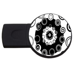 Fluctuation Hole Black White Circle Usb Flash Drive Round (2 Gb)