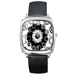 Fluctuation Hole Black White Circle Square Metal Watch