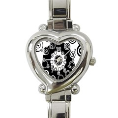 Fluctuation Hole Black White Circle Heart Italian Charm Watch