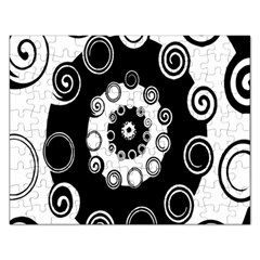 Fluctuation Hole Black White Circle Rectangular Jigsaw Puzzl