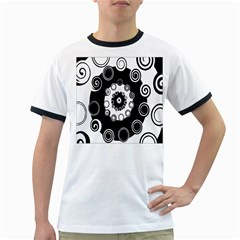 Fluctuation Hole Black White Circle Ringer T Shirts