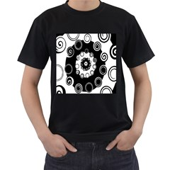 Fluctuation Hole Black White Circle Men s T Shirt (black) (two Sided)