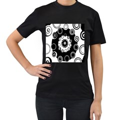 Fluctuation Hole Black White Circle Women s T Shirt (black) (two Sided)