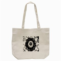 Fluctuation Hole Black White Circle Tote Bag (cream)
