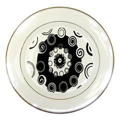 Fluctuation Hole Black White Circle Porcelain Plates