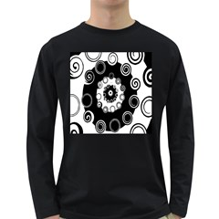 Fluctuation Hole Black White Circle Long Sleeve Dark T Shirts