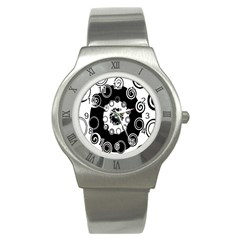 Fluctuation Hole Black White Circle Stainless Steel Watch