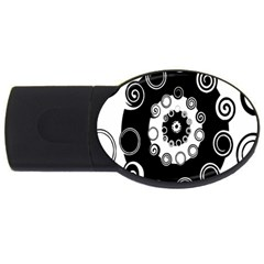 Fluctuation Hole Black White Circle Usb Flash Drive Oval (4 Gb)