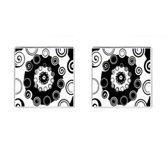 Fluctuation Hole Black White Circle Cufflinks (square)