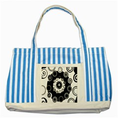 Fluctuation Hole Black White Circle Striped Blue Tote Bag