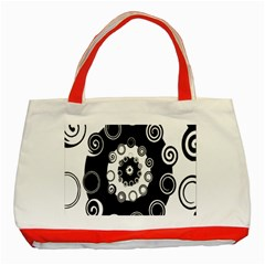 Fluctuation Hole Black White Circle Classic Tote Bag (red)