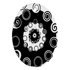 Fluctuation Hole Black White Circle Oval Ornament (two Sides)