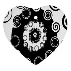 Fluctuation Hole Black White Circle Heart Ornament (two Sides)