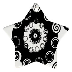 Fluctuation Hole Black White Circle Star Ornament (two Sides)