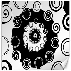 Fluctuation Hole Black White Circle Canvas 12  X 12