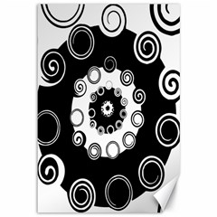 Fluctuation Hole Black White Circle Canvas 12  X 18
