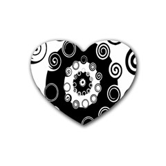 Fluctuation Hole Black White Circle Heart Coaster (4 Pack)