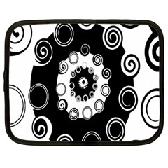 Fluctuation Hole Black White Circle Netbook Case (large)