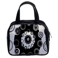 Fluctuation Hole Black White Circle Classic Handbags (2 Sides)