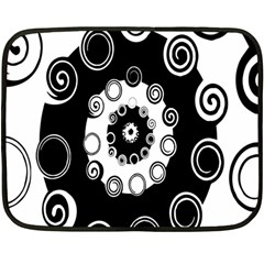 Fluctuation Hole Black White Circle Double Sided Fleece Blanket (mini)