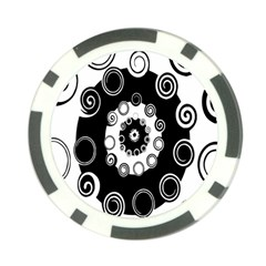 Fluctuation Hole Black White Circle Poker Chip Card Guard (10 Pack)