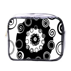 Fluctuation Hole Black White Circle Mini Toiletries Bags by Alisyart