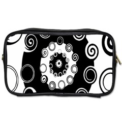 Fluctuation Hole Black White Circle Toiletries Bags 2 Side