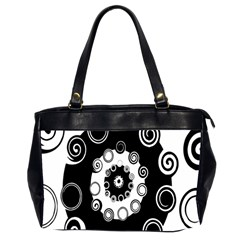 Fluctuation Hole Black White Circle Office Handbags (2 Sides)