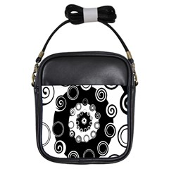 Fluctuation Hole Black White Circle Girls Sling Bags