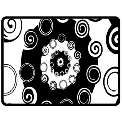 Fluctuation Hole Black White Circle Fleece Blanket (large)