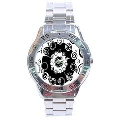 Fluctuation Hole Black White Circle Stainless Steel Analogue Watch