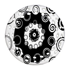 Fluctuation Hole Black White Circle Ornament (round Filigree)