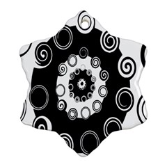 Fluctuation Hole Black White Circle Snowflake Ornament (two Sides)