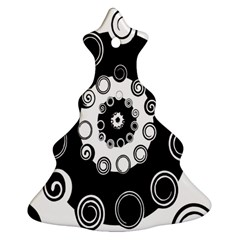 Fluctuation Hole Black White Circle Christmas Tree Ornament (two Sides)