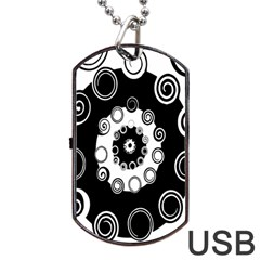 Fluctuation Hole Black White Circle Dog Tag Usb Flash (two Sides)