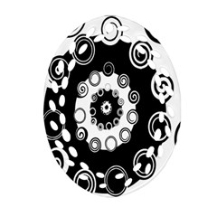 Fluctuation Hole Black White Circle Oval Filigree Ornament (two Sides)