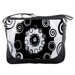 Fluctuation Hole Black White Circle Messenger Bags