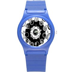 Fluctuation Hole Black White Circle Round Plastic Sport Watch (s)